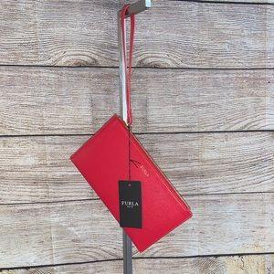 NWT Furla Babylon Envelope Wristlet in Red.